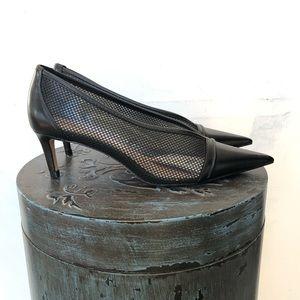 Black Zara Mesh Low Heel Pointy Shoes